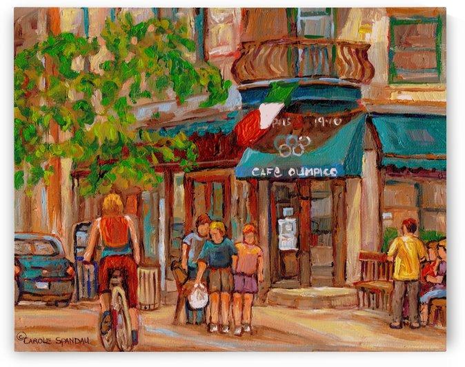 CAFE OLIMPICO MONTREAL SUMMER SCENE by Carole  Spandau