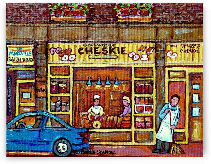 CHESKIES BAKERY RUE BERNARD MONTREAL STREET SCENE by Carole  Spandau