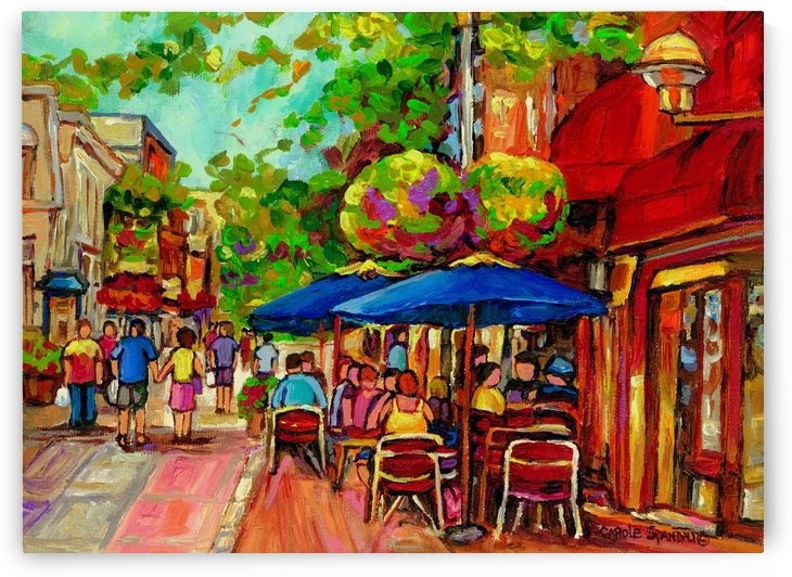 PRINCE ARTHUR CAFES MONTREAL SUMMER SCENE by Carole  Spandau
