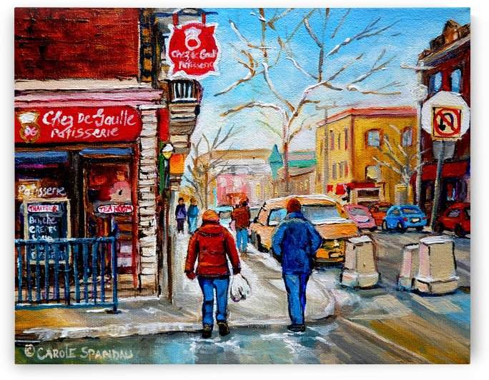 PATISSERIE CHEZ DEGAULLE MONTREAL WINTER STREET SCENE  by Carole  Spandau