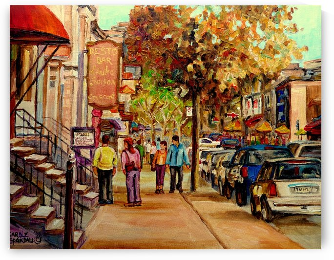 CRESCENT STREET MONTREAL SUMMER SCENE by Carole  Spandau