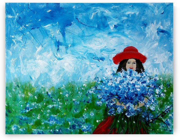 Being a Woman No3 - in a field of lovely bluebonnets by Kume Bryant