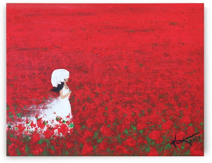Being a Woman No2 - in a field of red poppies by Kume Bryant