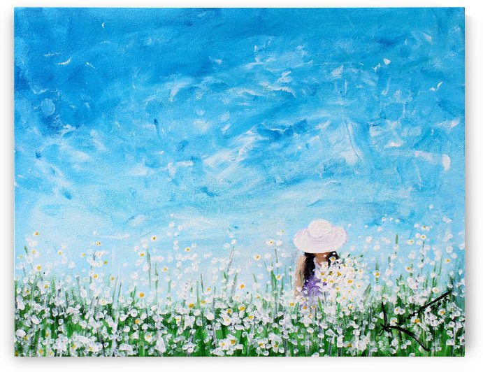 Being a Woman No1 - in a field of white daisies by Kume Bryant