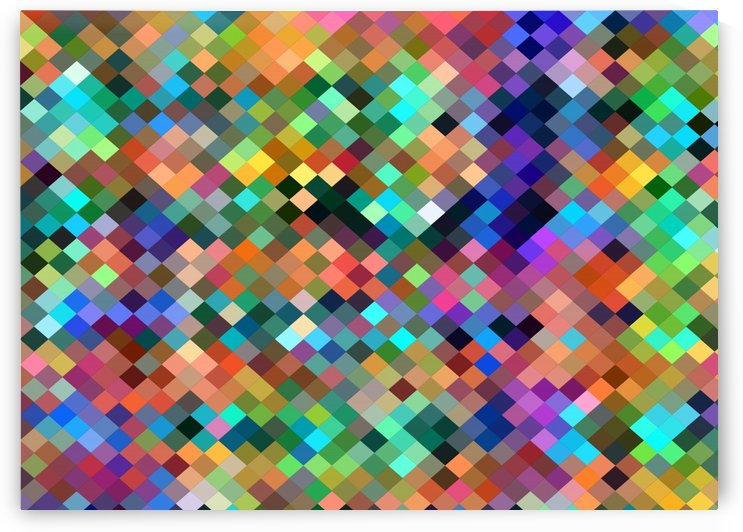 geometric square pixel pattern abstract in orange blue purple pink green yellow by TimmyLA