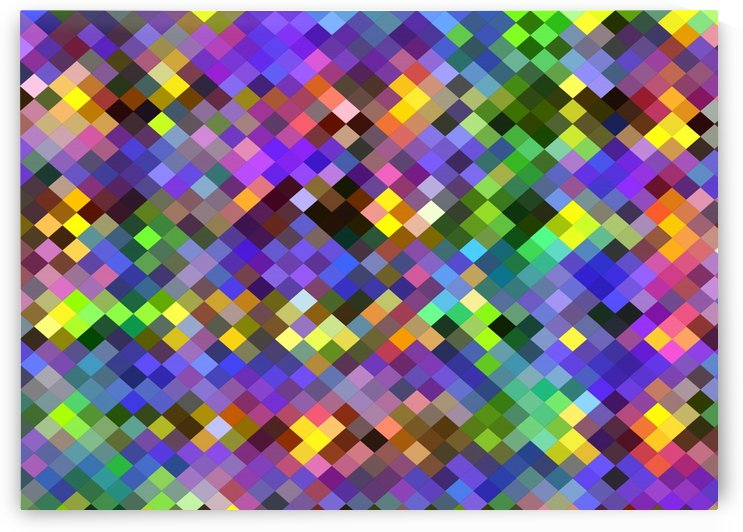 geometric square pixel pattern abstract in purple pink green yellow by TimmyLA