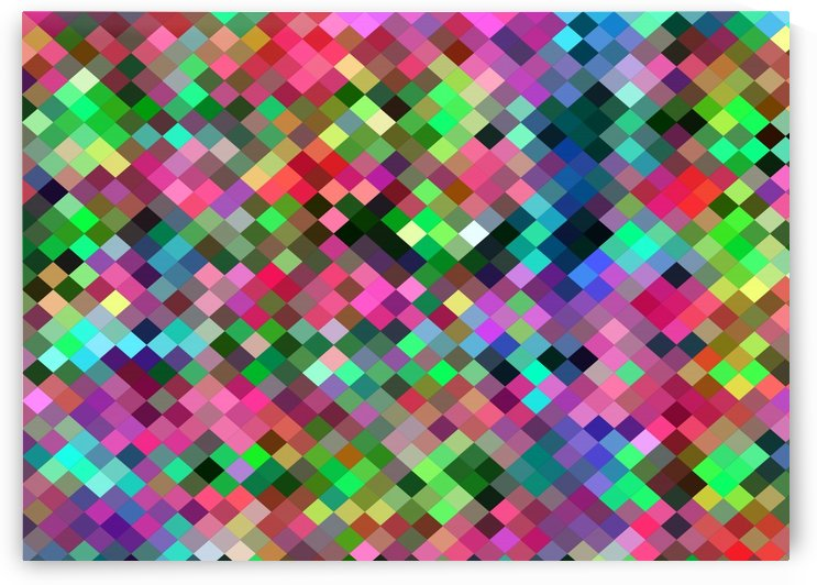 geometric square pixel pattern abstract in pink blue green by TimmyLA