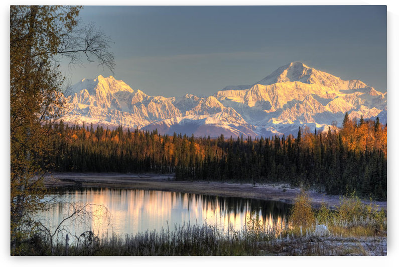 View Of Southside Mount Mckinley And Mount Hunter At Sunrise With Small Lake In Foreground, Southcentral Alaska, Autumn, Hdr Image by PacificStock