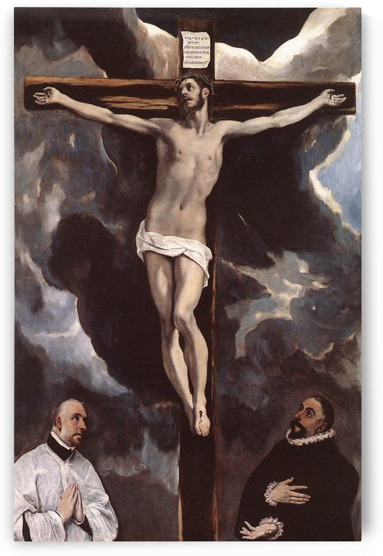 Christ on the cross adored by two donors by El Greco