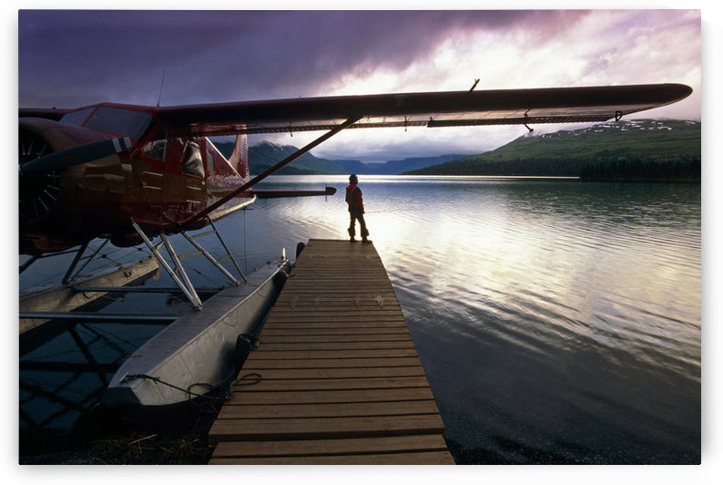 Fisherman Chelatna Lake Lodge Floatplane Docked Alaska Range Interior Summer Scenic by PacificStock