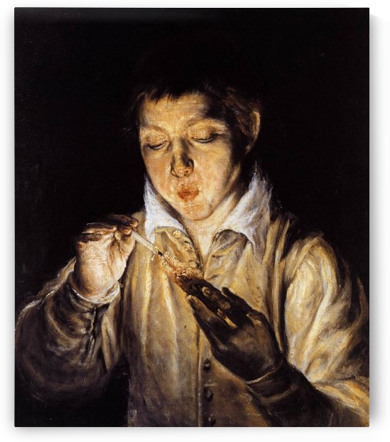 A boy blowing on an ember to light a candle by El Greco