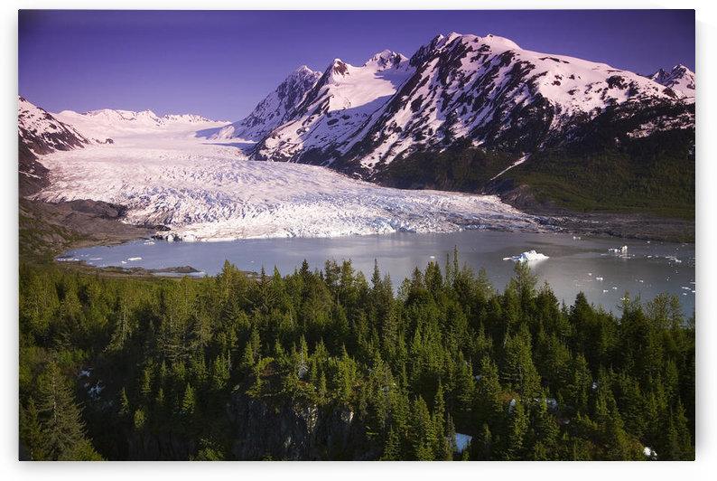 Aerial Of Spencer Glacier Kenai Mountains Chugach National Forest Southcentral Alaska Summer by PacificStock
