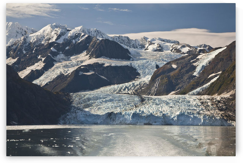 Scenic View Of Stairway Glacier (R) Flowing Into Surprise Glacier From Chugach Mountains And Then Into Surprise Inlet In Harriman Fjord. Prince William Sound, Southcentral, Alaska by PacificStock