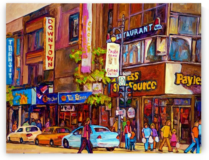DOWNTOWN MONTREAL ST. CATHERINE WITH PAYLESS STORE by Carole  Spandau