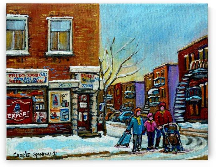Epicerie Depanneur Beaulieu Montreal Winter Scene by Carole  Spandau
