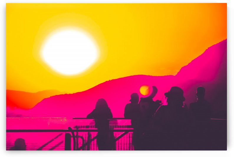 summer sunset light with mountain background by TimmyLA