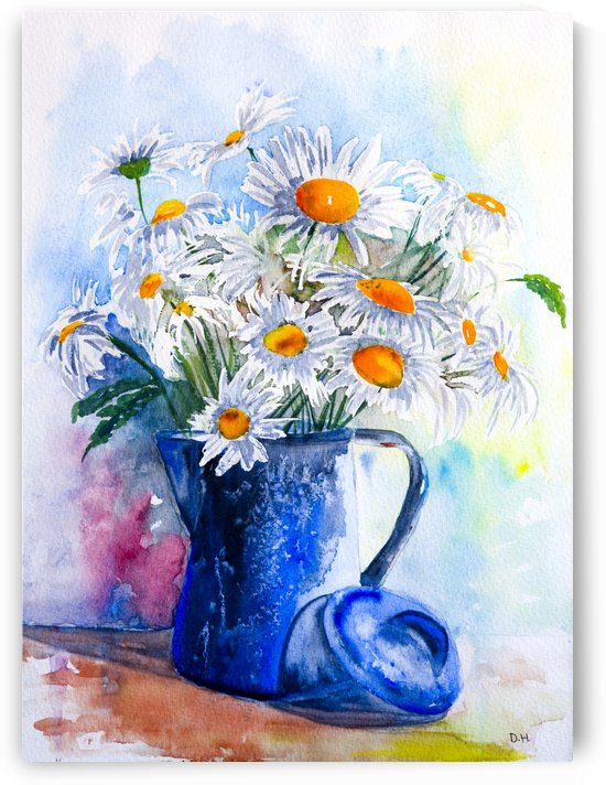 Daisies in a Blue Jug  by DHWebbArt