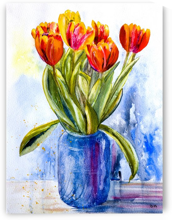 Tulips in a Blue Jar  by Wall Art Unlimited