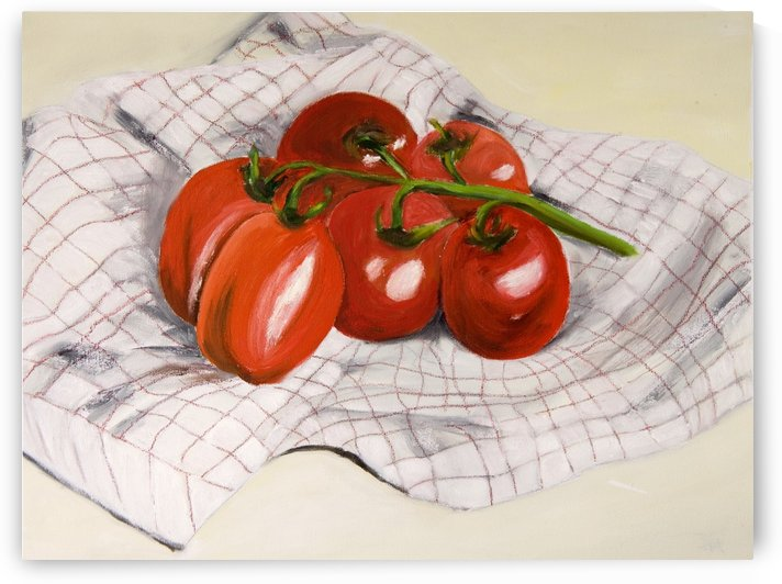 Tomatoes on a Striped Cloth  by ClosetPainter