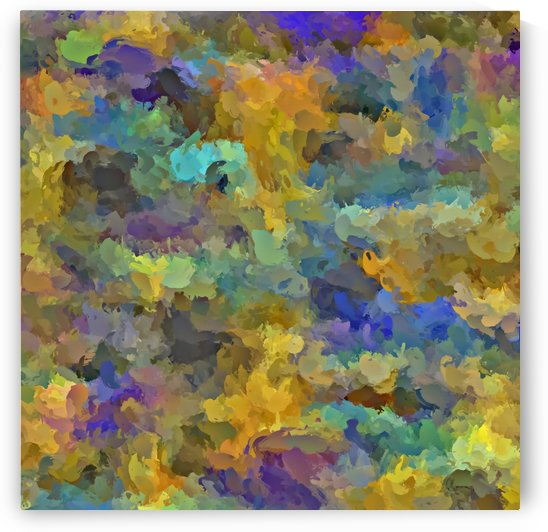 psychedelic painting abstract pattern in yellow brown blue by TimmyLA