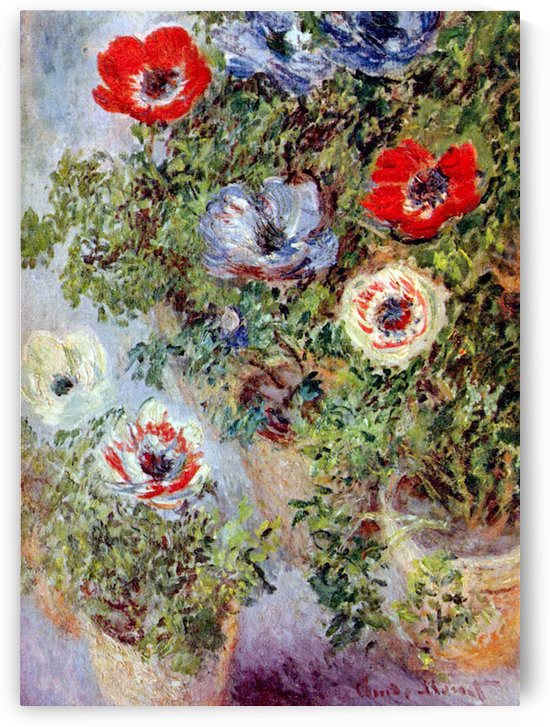 Still Life with Anemones by Monet by Monet