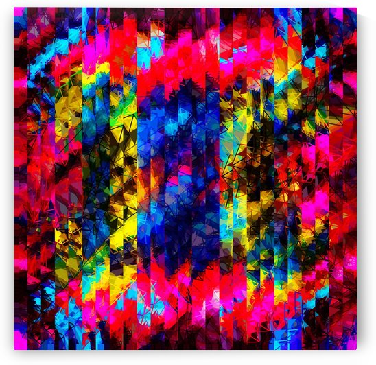 psychedelic geometric painting abstract pattern in red pink blue yellow by TimmyLA