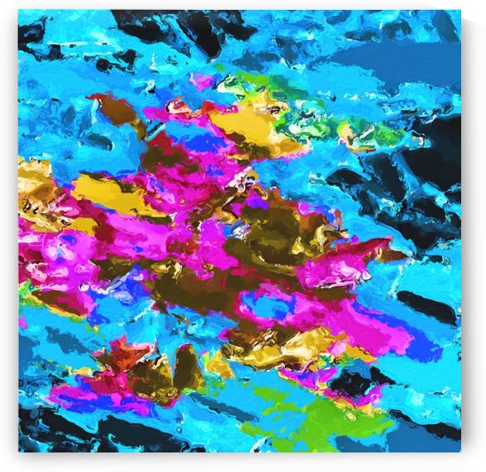psychedelic splash painting abstract texture in blue pink yellow brown green by TimmyLA