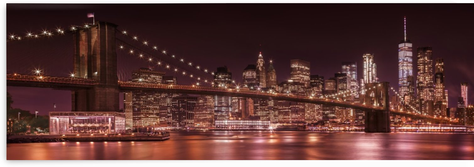 MANHATTAN SKYLINE & BROOKLYN BRIDGE Evening Impressions | Panoramic  by Melanie Viola