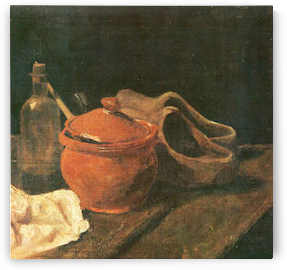 Still life with clay, wood and bottle by Van Gogh by Van Gogh