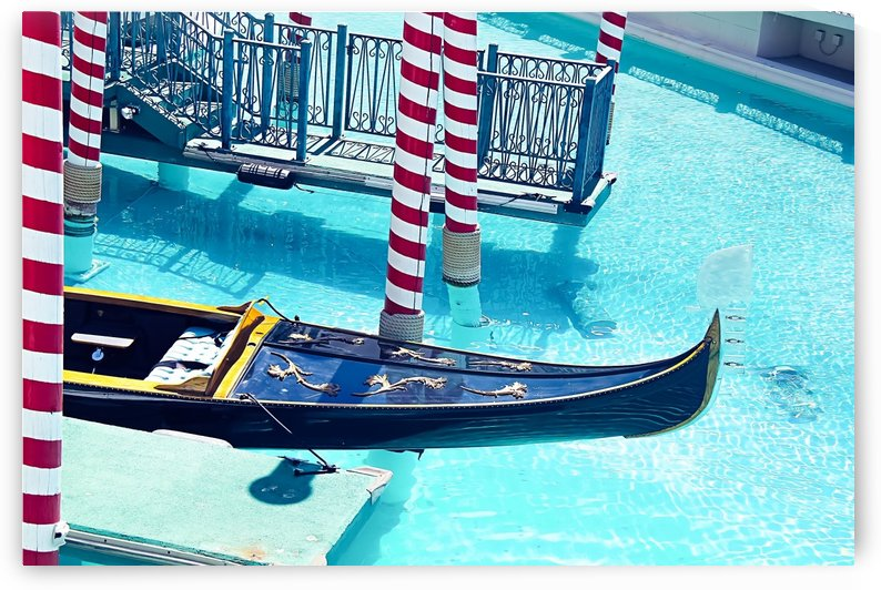 Classic Gondola boat and blue water by TimmyLA