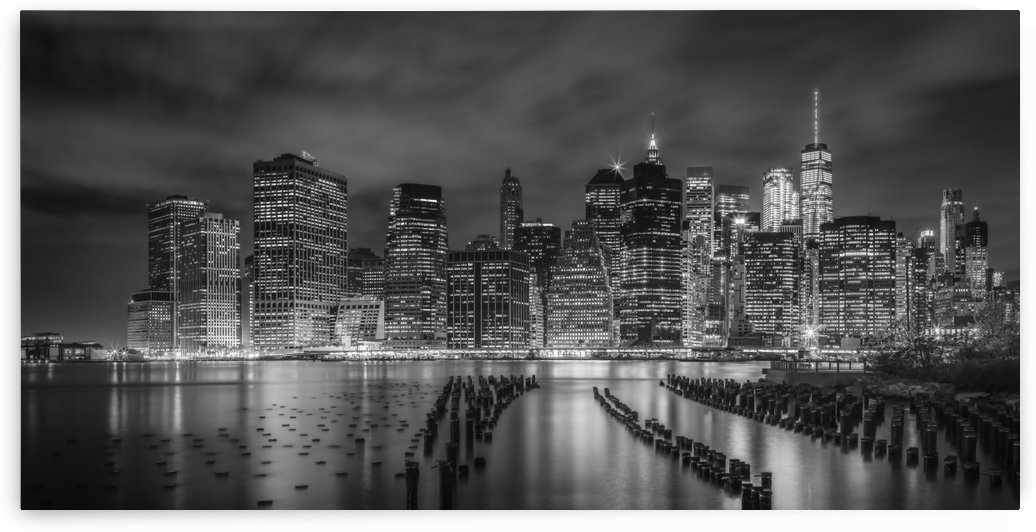 NEW YORK CITY Monochrome Night Impressions | Panoramic by Melanie Viola