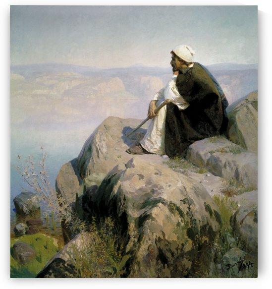 Man enjoying the view along a large lake by Vasili Dmitrievich Polenov