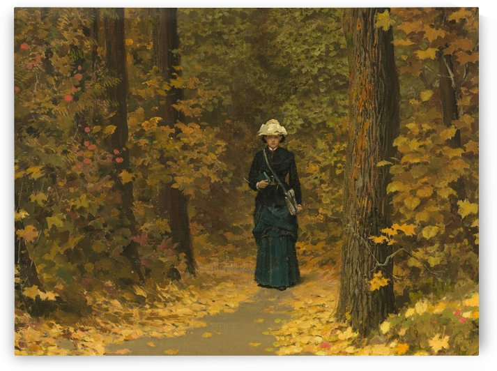 Lady exploring a path along beautiful forest during autumn by Vasili Dmitrievich Polenov