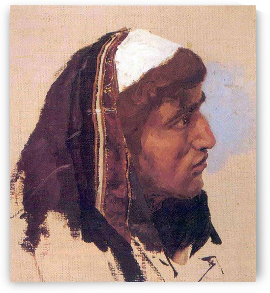 The head of a young man in a blue bedspread by Vasili Dmitrievich Polenov