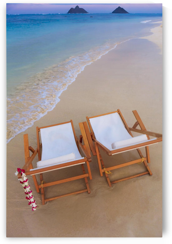Hawaii, Oahu, Kailua, Two lounge chairs on the white sandy beach of Lanikai. by PacificStock