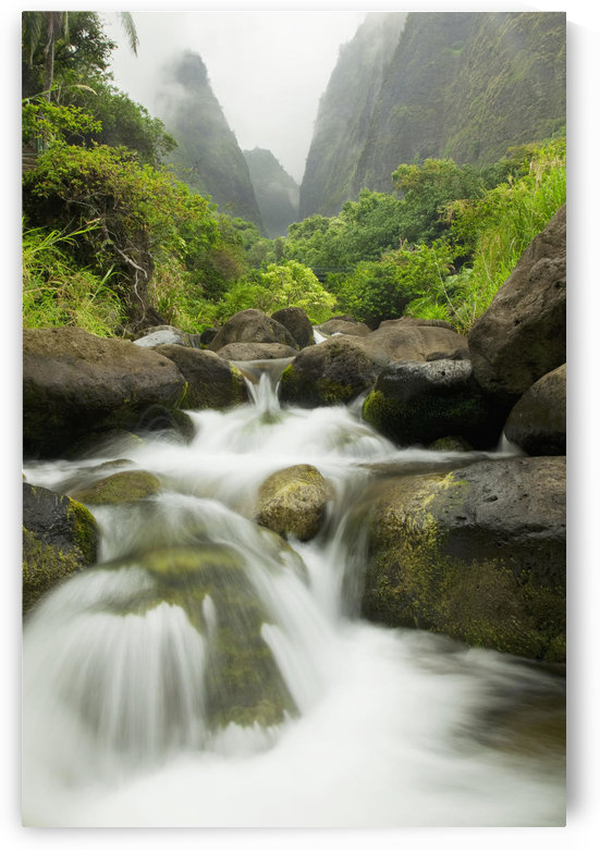 Hawaii, Maui, Iao River Valley waterfall. by PacificStock