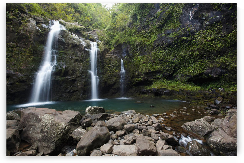 Hawaii, Maui, Hana, The three Waikani Falls with a clear blue pond on The Road To Hana by PacificStock