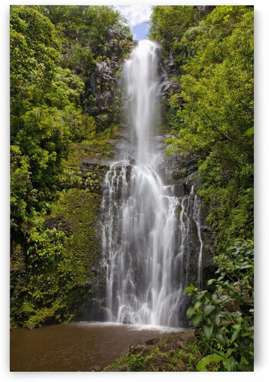 Hawaii, Maui, Wailua Falls, Large falls with lush foliage. by PacificStock