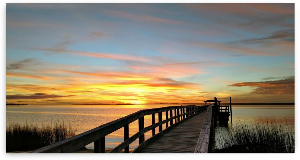 Winter Sunset on the Cape Fear at Ft Fisher by Toni Mims-Bowman