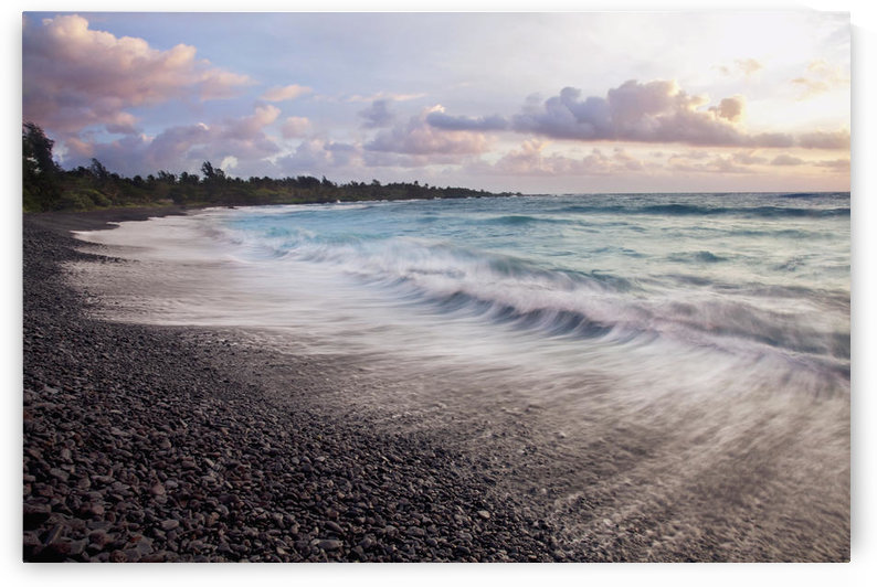 Hawaii, Maui, Hana, Dramatic seascape of Hana's black sand beach. by PacificStock