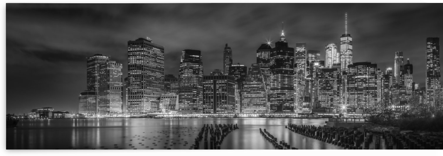 NEW YORK CITY Monochrome Night Impressions | Panoramic View by Melanie Viola