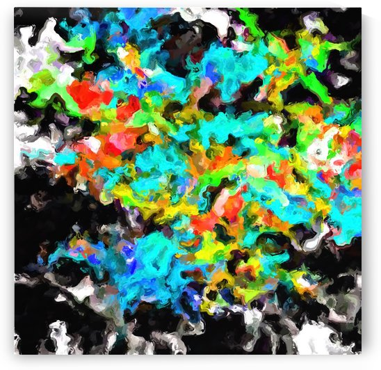psychedelic splash painting abstract texture in blue orange yellow green black by TimmyLA