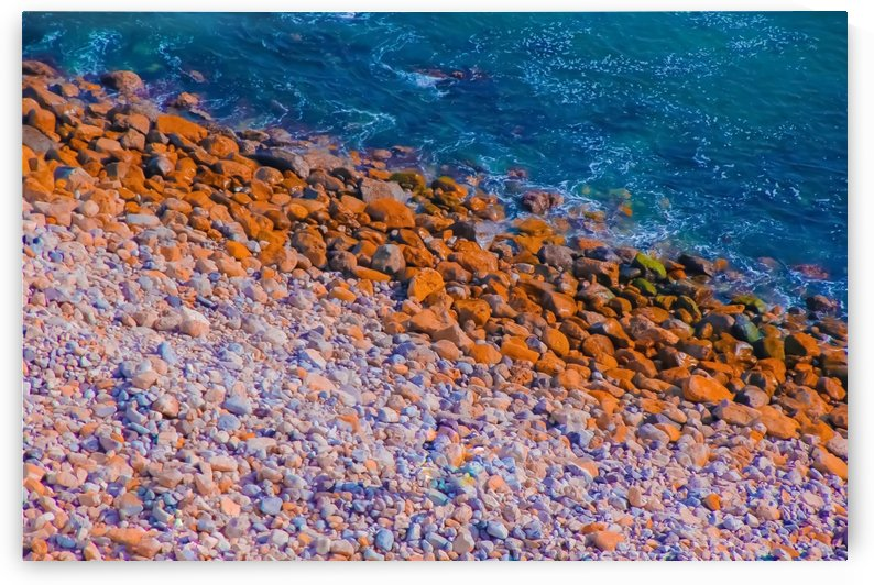 ocean with blue water and rock in summer by TimmyLA
