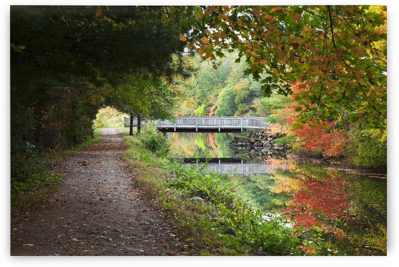 New England, Massachusetts, Blackstone Valley, Pathway and bridge near river. by PacificStock