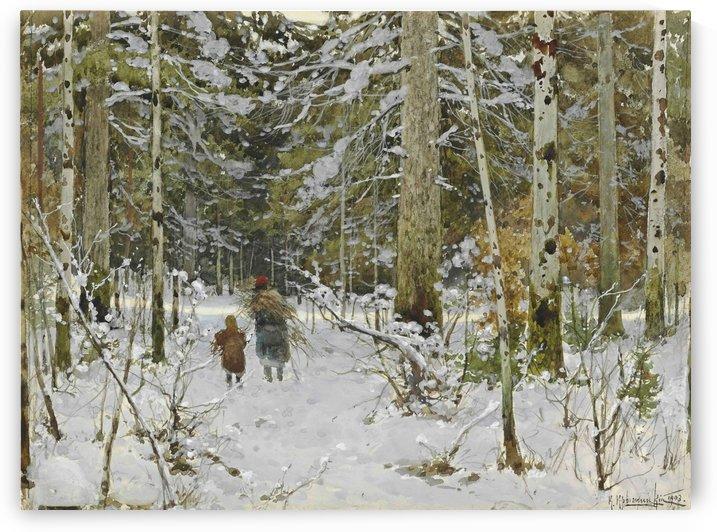 Wood gathering during winter by Konstantin Yakovlevich Kryzhitsky