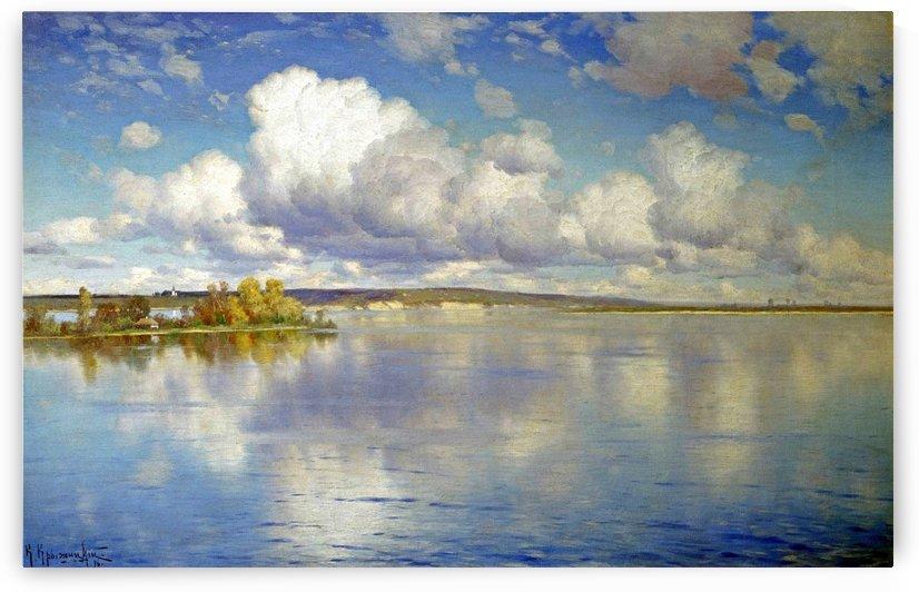 Large lake along a Russian landscape with church in the back by Konstantin Yakovlevich Kryzhitsky