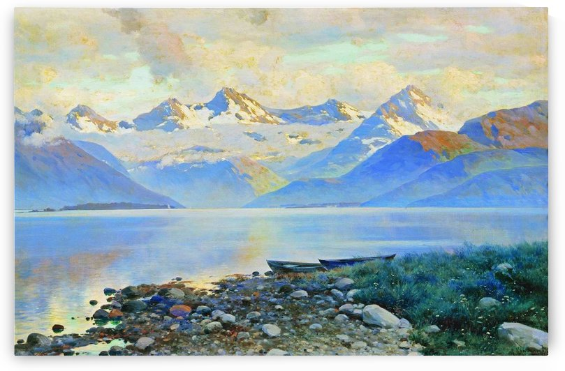 Large Rusian lake with mountains in the back by Konstantin Yakovlevich Kryzhitsky