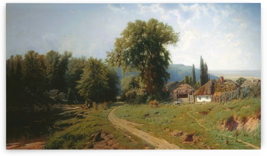 Russian landscape with houses near a forest along a river by Konstantin Yakovlevich Kryzhitsky