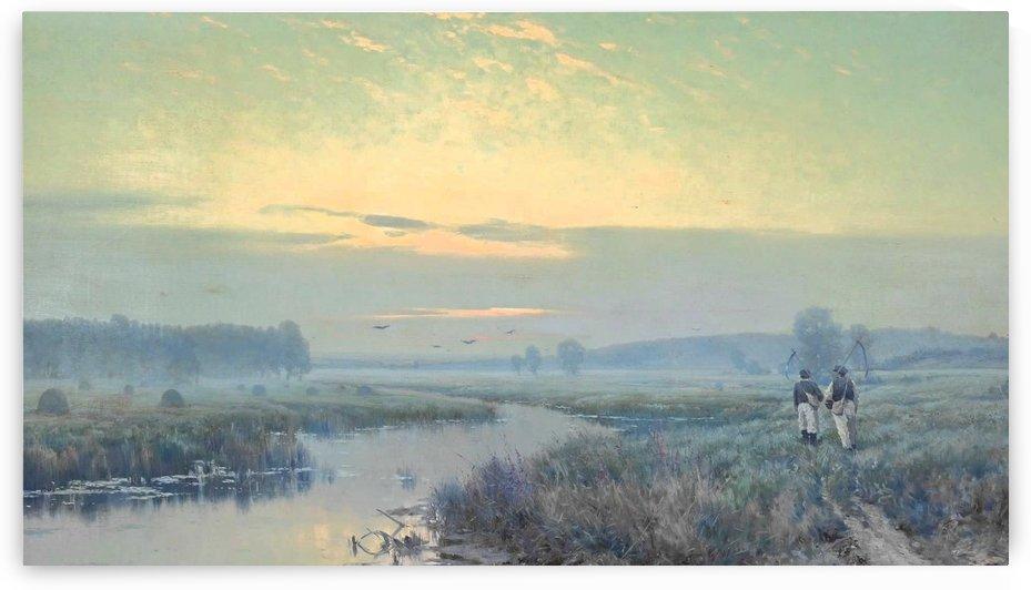 River estuary with farm labourers by Konstantin Yakovlevich Kryzhitsky