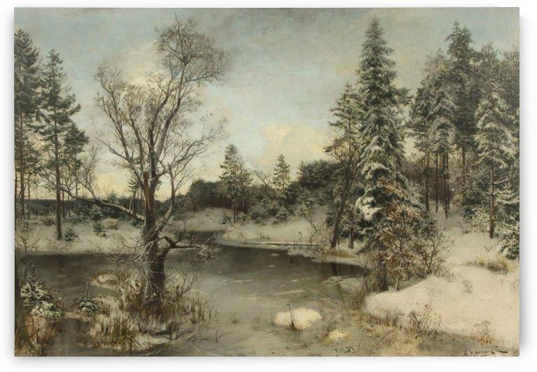 River in the winter forest by Konstantin Yakovlevich Kryzhitsky